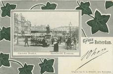 PBK-1993-853 De Grotemarkt vanuit het westen. Op de achtergrond het spoorwegviaduct; op de voorgrond het standbeeld van ...