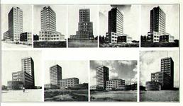 PBK-1993-950 9 afbeeldingen van het GEB-gebouw aan de Rochussenstraat, genomen uit diverse richtingen,op één prentbriefkaart.