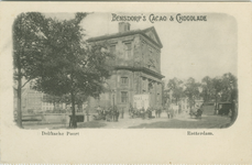 PBK-1993-952 Reclame voor Bensdorp's cacao & chocolade. Op de prentbriefkaart: De Delftse Poort aan het ...