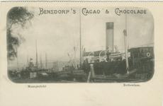 PBK-1993-953 Reclame voor Bensdorp's cacao & chocolade. Op de prentbriefkaart: De Boompjes uit het westen gezien. Aan ...