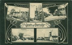 PBK-1993-97 Prentbriefkaart met 5 verschillende afbeeldingen van Overschie. Van boven naar beneden:-1 Voorom.-2 ...