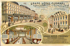 PBK-1996-119 Reclamekaart met het ex- en het interieur van Grand Hotel Coomans aan de Hoofdsteeg.