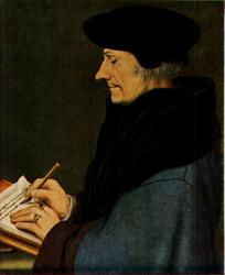 PBK-1997-51 Prentbriefkaart naar een schilderij van de schrijvende Desiderius Erasmus.
