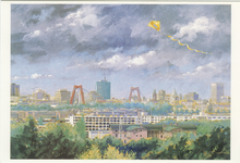 PBK-1997-6 Panoramisch gezicht op de stad vanaf de Van Brienenoordbrug in de richting van het stadscentrum.