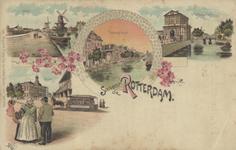 PBK-1999-46 Prentbriefkaart met 4 afbeeldingen.Boven: molens aan de Schie: van oost naar west: de Bergpoldermolen; de ...