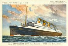 PBK-2000-193 Reclame voor de t.s.s. Statendam III, passagiersschip van de Holland-Amerika Lijn.