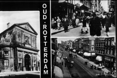PBK-2000-374 Fotokaart met drie afbeeldingen.Links de Delftse Poort, rechtsboven de Hoogstraat, en rechtsonder de ...