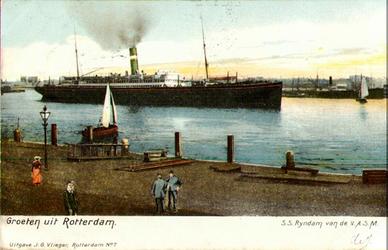 PBK-2000-47 Gezicht op het passagiersschip Rijndam van de Nederlandsch-Amerikaansche Stoomvaart Maatschappij varend op ...