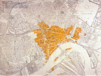 PBK-2001-161 Het in mei 1940 verwoeste deel van de binnenstad.