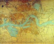 PBK-2001-162 Prentbriefkaart waarop met rode en blauwe inkt plaatsen zijn ingetekend waar tijdens de tweede ...
