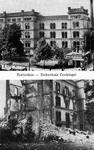PBK-2003-153 Prentbriefkaart met 2 afbeeldingen van voor en na het bombardement van 14 mei 1940.Boven en onder: het ...