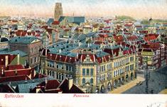 PBK-2003-236 Overzicht op Plan C, station Beurs, de toren van de Sint-Laurenskerk, uit het zuidoosten, vanaf het Witte Huis.