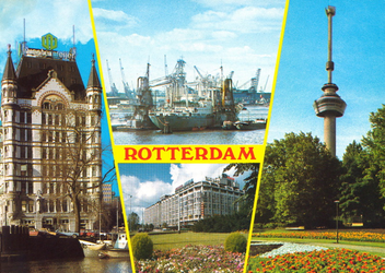 PBK-2004-297 Prentbriefkaart met afbeeldingen van het Witte Huis, het lossen van een schip met graanelevators, het ...