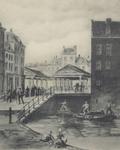 PBK-2005-659 Spuiwater met op de achtergrond de gebouwen van de Vlasmarkt, die in 1858 werd afgebroken.