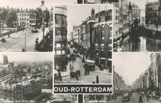PBK-2005-95 Fotokaart met 5 verschillende afbeeldingen van Oud-Rotterdam. Van links naar rechts:1. linksboven: De Vier ...