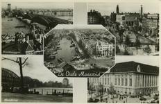PBK-2006-6 Fotokaart met rivier- en stadsgezichten van de Oude Maasstad. Met de klok mee: Spoorbrug, de Willemsbrug en ...