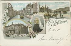 PBK-2007-115 Prentbriefkaart met vier verschillende afbeeldingen.Boven: De Steigersgracht, De Willemsbrug en de ...