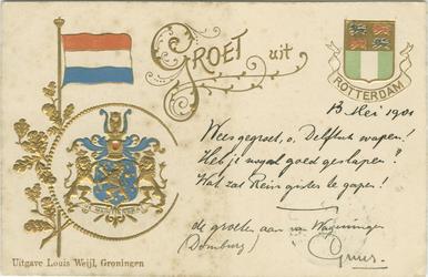 PBK-2007-116 Prentbriefkaart met links de vlag en het wapen van Nederland en rechts het wapen van Rotterdam.