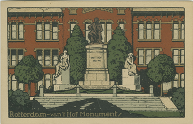 PBK-2007-349 Het monument van Van 't Hoff en de Rotterdamse Avondscholengemeenschap aan de 's-Gravendijkwal nummer 58.