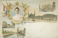 PBK-2007-43 Prentbriefkaart met vijf afbeeldingen.Links: Koningin Wilhelmina, De Delftse Poort, De Coolvest.Rechts: ...