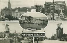 PBK-2007-554 Fotokaart met 5 verschillende afbeeldingen van Oud-Rotterdam. Van links naar rechts:1. linksboven: ...