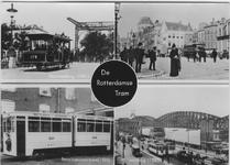 PBK-2007-64 Prentbriefkaart met vier afbeeldingen.Van boven naar beneden:Boven: Een open paardentram op de Noorderbrug, ...