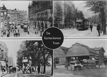 PBK-2007-65 Prentbriefkaart met afbeeldingen van vier verschillende trams.Van boven naar beneden:Boven: De ...