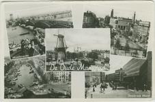 PBK-2007-71 Fotokaart met twee rivier- en drie stadsgezichten van de Maasstad.Van boven naar beneden:Boven: -1De ...