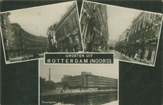 PBK-2008-272 Fotokaart met 3 verschillende afbeeldingen van Rotterdam-Noord.Zwaanshals bij de Woelwijkstraat, uit het ...