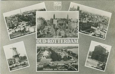 PBK-2008-408 Fotokaart met 6 stadsgezichten.-1 Oostzeedijk en Oostplein.-2 Molen Oostplein.-3 Coolsingel.-4 Oosterkade ...