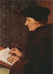PBK-2008-480 Prentbriefkaart naar een portret van de schrijvende Desiderius Erasmus, van de schilder Hans Holbein de ...