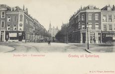 PBK-2124 De Erasmusstraat uit het oosten, op de achtergrond de gereformeerde Noorderkerk aan de Jacob Catsstraat, op de ...