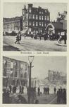 PBK-2177 Twee afbeeldingen van voor en na het bombardement van 14 mei 1940, op één kaart. Gezicht op de Slaak. De ...