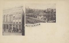 PBK-2200 2 afbeeldingen op één prentbriefkaart.Links: op nummer 18, het Rotterdams Leeskabinet, pand rechts op nummer ...