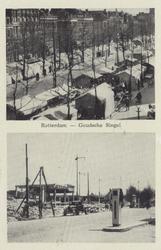 PBK-2269 Twee afbeeldingen op één prentbriefkaart van voor en na het bombardement van 14 mei 1940.Boven: de weekmarkt ...