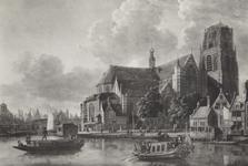 PBK-2395 Grote- of Sint Laurenskerk aan het Grotekerkplein. Op de voorgrond de Binnenrotte.