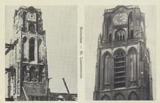 PBK-2439 Twee afbeeldingen op 1 prentbriefkaart. De toren van de Grote Kerk aan het Grotekerkplein voor en na het ...