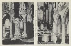 PBK-2472 Prentbriefkaart met 2 afbeeldingen van voor en na het bombardement van 14 mei 1940.Gezicht naar het orgel toe, ...