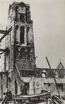 PBK-2487 Puinresten na het bombardement 14 mei 1940. De toren van de Grote Kerk aan het Grotekerkplein.