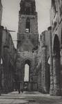 PBK-2495 Puinresten na het bombardement 14 mei 1940. Het interieur van de Grote Kerk aan het Grotekerkplein.