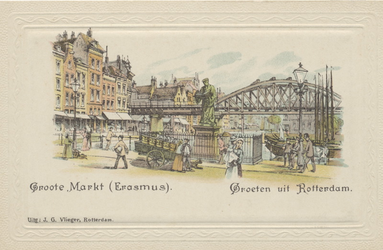 PBK-2558 De Grotemarkt vanuit het westen. Op de achtergrond het spoorwegviaduct; op de voorgrond het standbeeld van Erasmus.