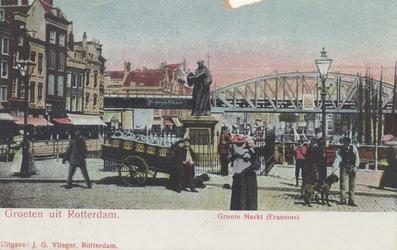 PBK-2565 Grotemarkt bij het standbeeld van Erasmus vanuit het westen.