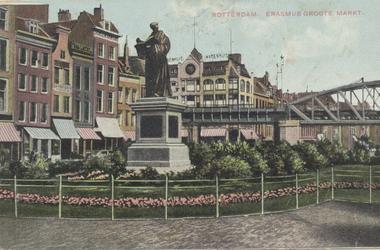 PBK-2584 Het standbeeld van Erasmus aan de Grotemarkt, gezien uit het westen.