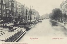 PBK-2628 Haagseveer uit het zuiden gezien, rechts de Delftsevaart, links het Haagseveer, op de achtergrond de Galerijbrug.