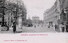 PBK-263 Gezicht in de Diergaardelaan. Op de achtergrond de Delftse Poort. De paardetram komt uit de Stationsweg (links).