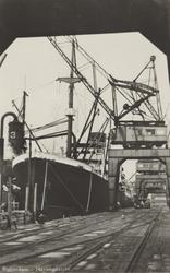 PBK-2726 Overslag van graan en hijskranen bij een vrachtschip langs de kade van de Merwehaven bij het bedrijf ...