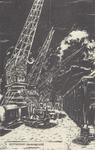 PBK-2747 Hijskranen aan de kade op het terrein van de rederij Müller met links wagons en rechts loodsen. Op de ...