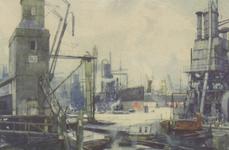 PBK-2749 Overslag bij schepen in haven, met graanelevators.