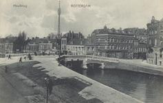 PBK-2834 De Heulbrug over de Rotterdamse Schie. Rechts de oostzijde van de Schiekade. Gezien uit het zuidwesten.