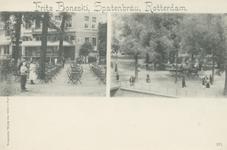 PBK-2904 Twee afbeeldingen van cafe restaurant Fritz Boneski op één prentbriefkaart. Links het terras, rechts de ...